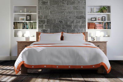 Luxury Signature 100% Organic Cotton Duvet Cover With Time Saving Features - White & Orange