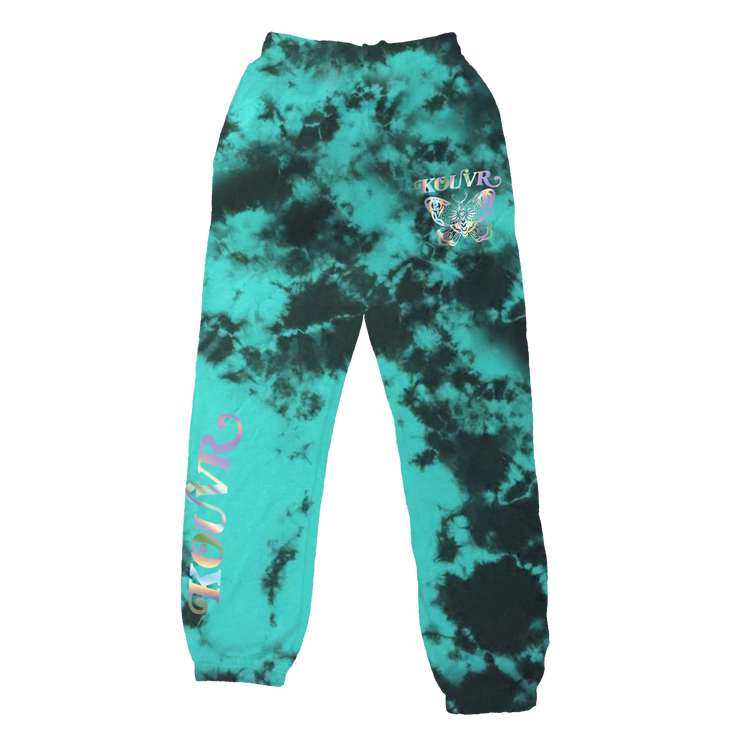 Kouvr Butterfly Foil Sweatpants Teal/Black Crystal