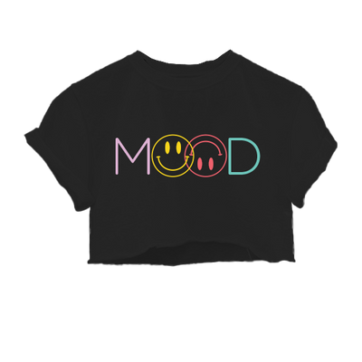 Mood Smiley Face Black Cropped Tee