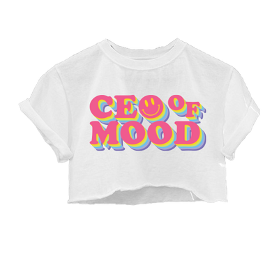 CEO of Mood White Cropped Tee