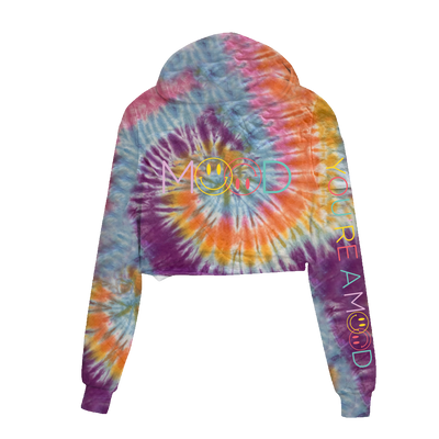 Mood Smiley Face Pastel Swirl Cropped Hoodie