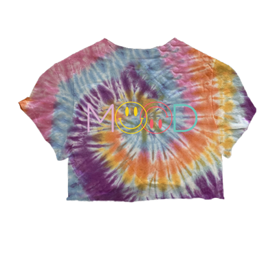 Mood Smiley Face Pastel Swirl Dyed Cropped Tee