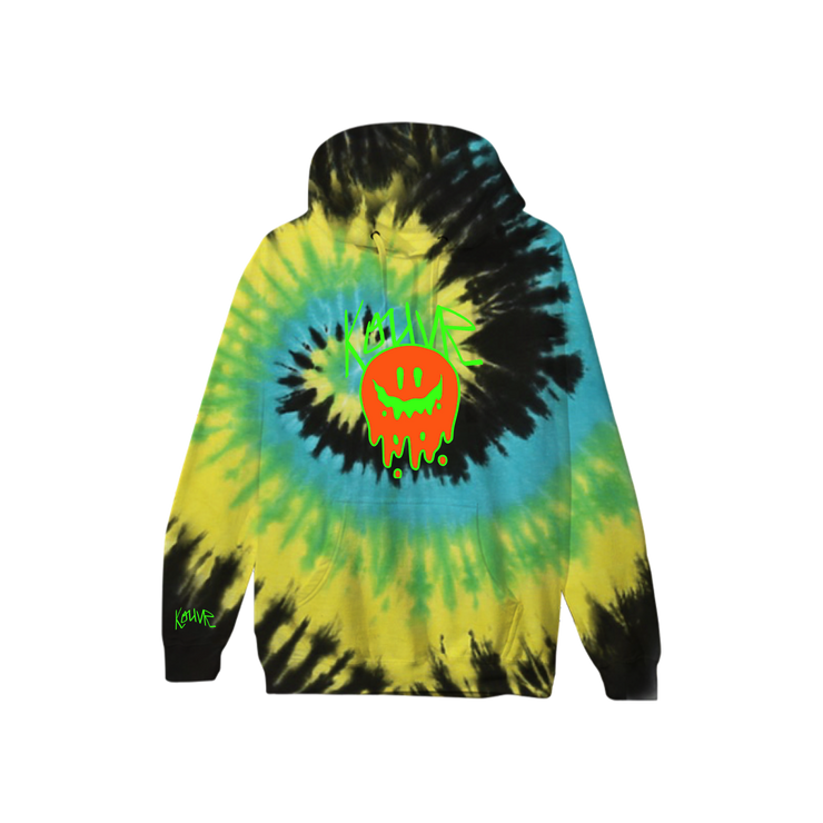 Drippy Smiley Hoodie Yellow Spiral