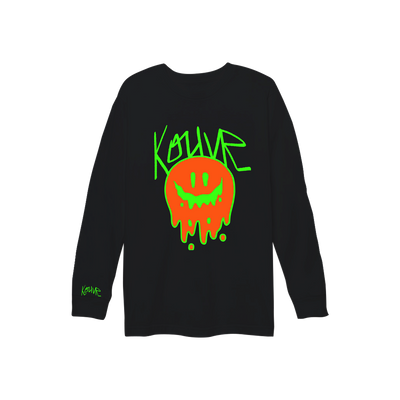 Drippy Smiley Long Sleeve Black