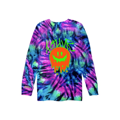 Drippy Smiley Long Sleeve Neon Spiral