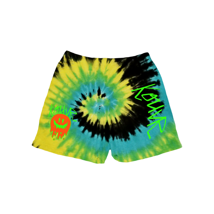 Drippy Smiley Sweat Shorts Yellow Spiral