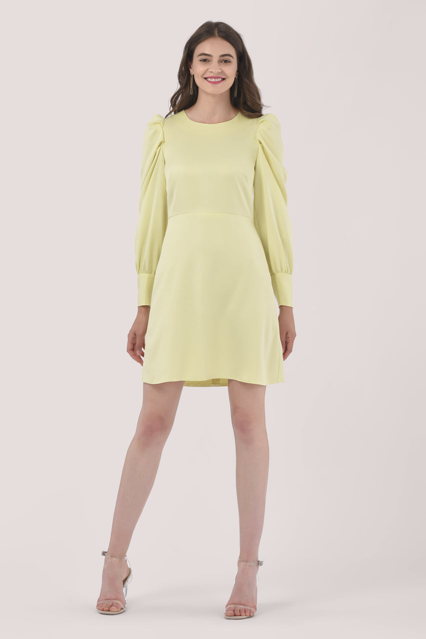1960s Cocktail, Party, Prom, Evening Dresses Yellow Puff Sleeve Mini Dress $131.95 AT vintagedancer.com
