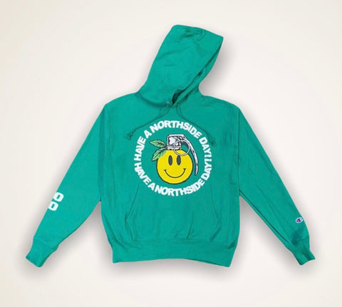 """Have a Northside Day"" Hoodie w/ Puff Print - Green"