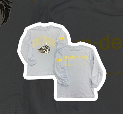 """UNDERDOG TEE"" - LIGHT GREY/YELLOW LONG SLEEVE"