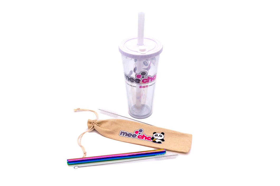 Reusable Bubble Tea Combo - Cup & Straw Set - Mee Cha Online