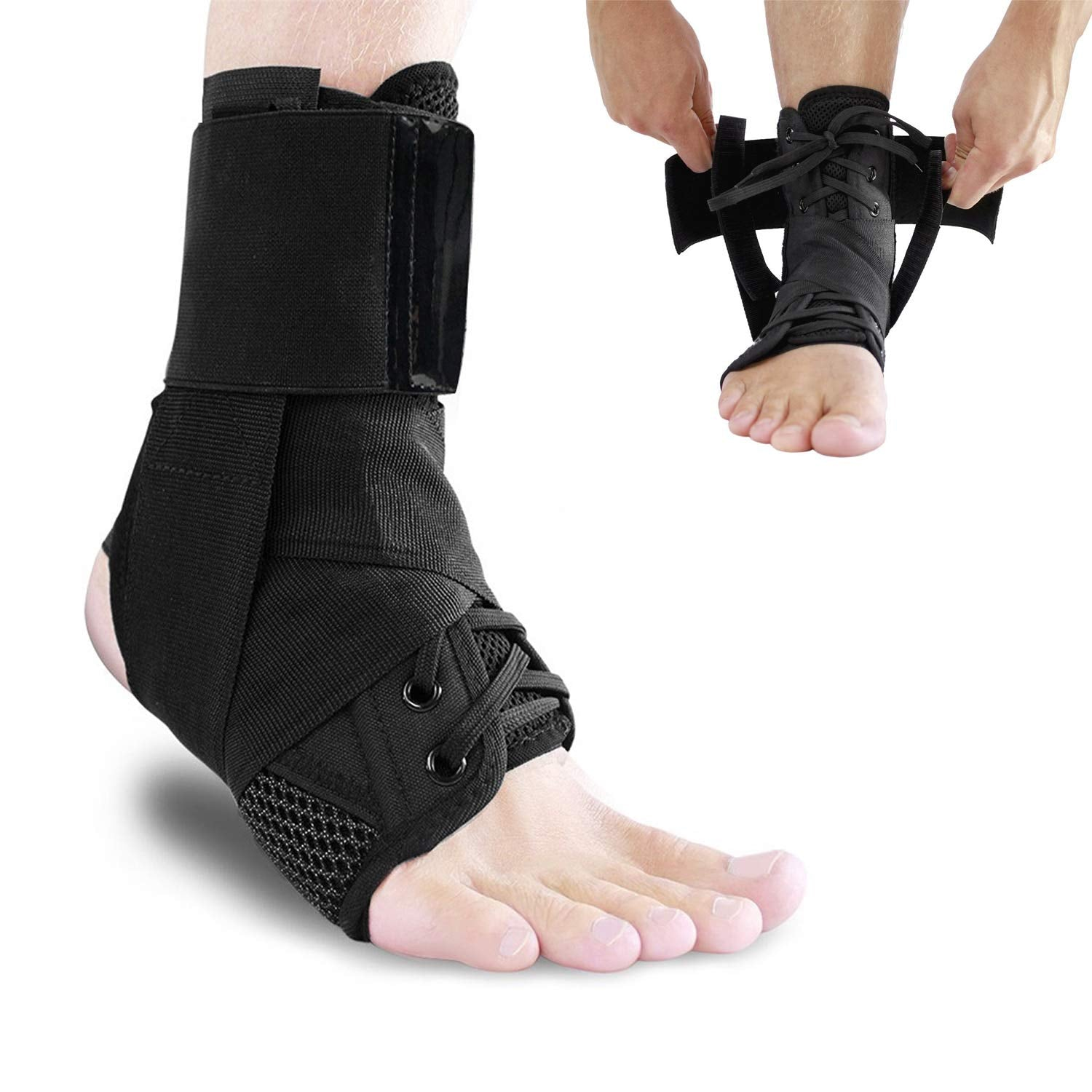 Lace up Ankle Brace Compression Support Wrap with Stabilizer Straps