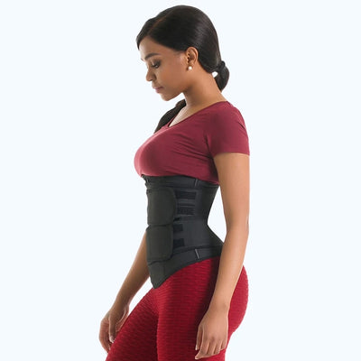 Double Compression Straps with Supportive Zipper Workout Waist Trainer Shapewear