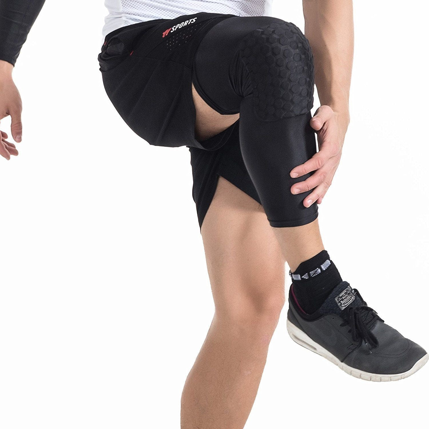 Padded Compression Knee Sleeves Sport Safety Breathable Protector Basketball