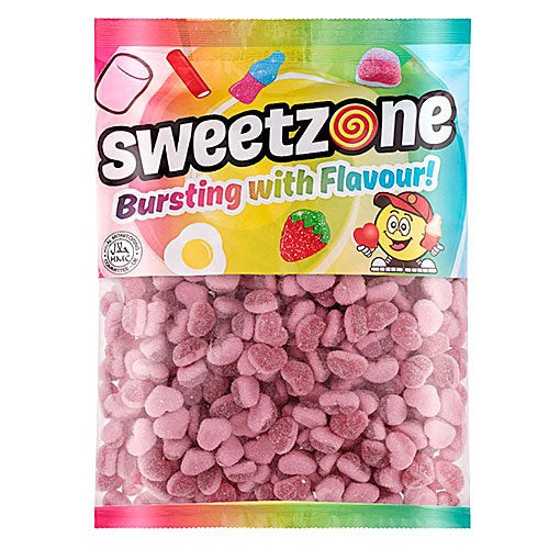 Halal Fizzy Strawberry Hearts - 1kg Bulk Bag