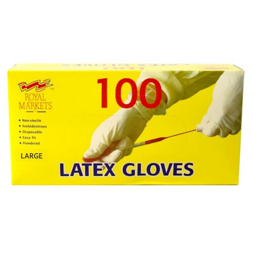 Royal Markets Large Latex Gloves 100 Count