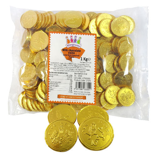 Gold Milk Chocolate Sterling UK Coins - 1kg Bulk Bag