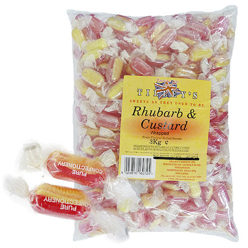 Rhubarb & Custard Wrapped - 3kg Bulk Bag