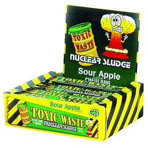 Toxic Waste Sour Apple Chew Bars - 50 Count