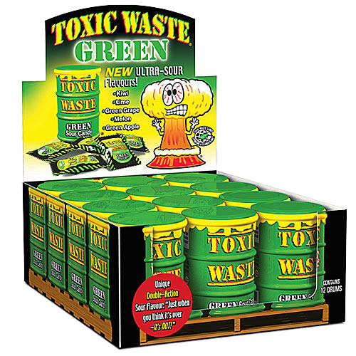 green toxic waste candy drums