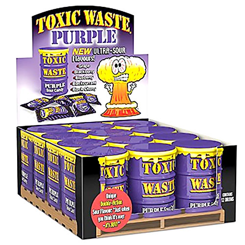 Toxic Waste Sour Candy Purple - 12 Drums