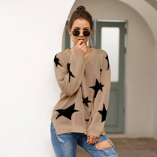Womens Autumn Sweater Pentagram Star Knit  V-neck Long Sleeve Loose Japan Woman Sweaters Female Pullovers Tops VD31001