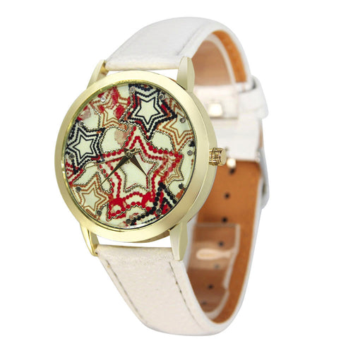 New Fashion brand women watch high quality Lady Quartz Watch Star Pattern PU Leather Band Analog Vogue Watches Well