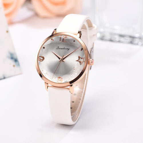 Retro Minimalism Ladies Wrist Watches Exquisite Women Leather Star Quartz Watch Simple Woman Dress Watch Relogio Feminino