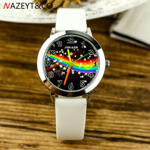 free shipping fashion boys and girls Starry sky dial leather watch cute star and rainbow design little and middle student clock