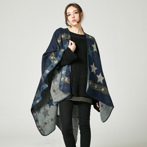 New European and American ladies star color stripe imitation cashmere shawl super long thick and versatile shawl
