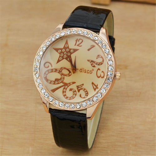 Wholesale Bling Rhinestone Crystal Star Watch Women Fashion Casual Leather Strap Quartz Watch Reloj