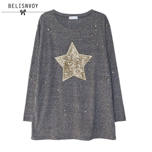 2019 Spring Fashion T Shirt Women Five-pointed Star Sequined Long Sleeve Casual T-shirts Plus Size Women Tops Tee Shirt Femme