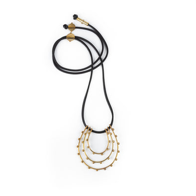 Hebba Tri Loop Necklace On Leath Black