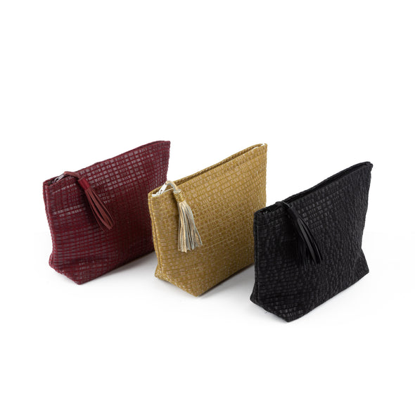 Medium Weaved Leather Pouch
