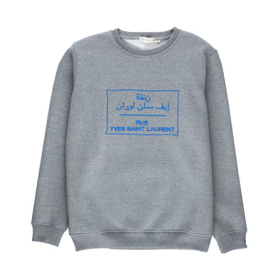 Rue YSL Embroidered Adult Sweatshirt - Gray