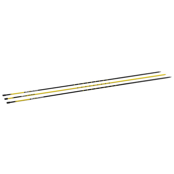 Three agility rods in black and yellow