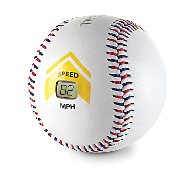 Front view of training baseball with speedometer showing speed of 82 mph