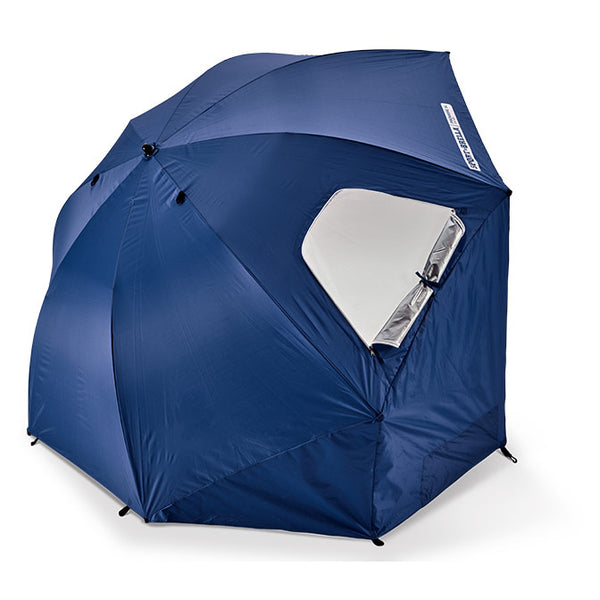 Side view of Blue umbrella with side flaps hanging down