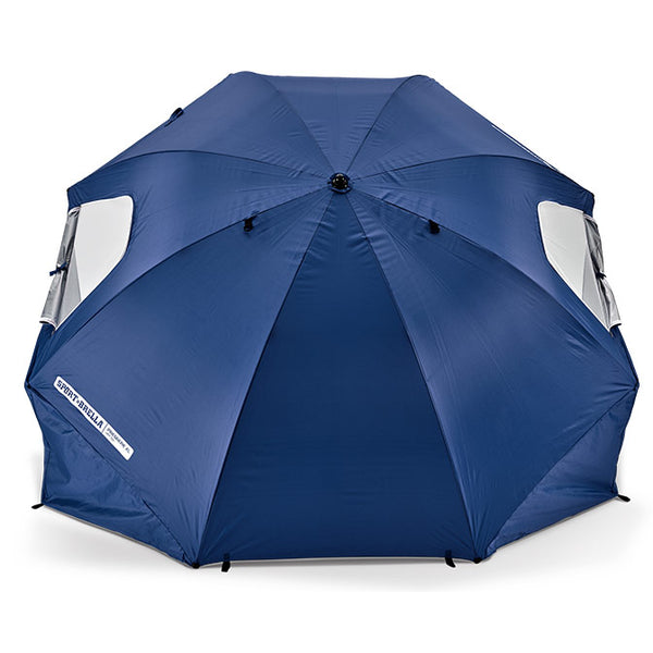 Blue umbrella with side flaps hanging down