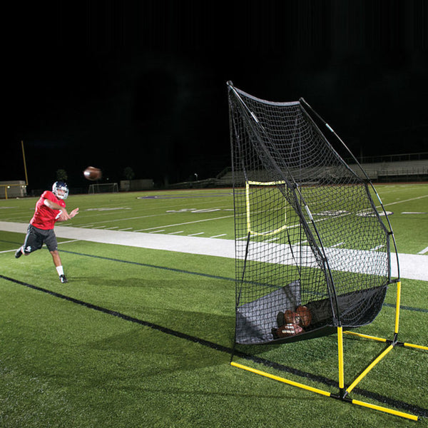 Football QB practicing his throwing using the SKLZ Quickster 4-in-1 FB trainer.