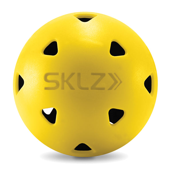 Front view of Black and Yellow impact golf practice ball