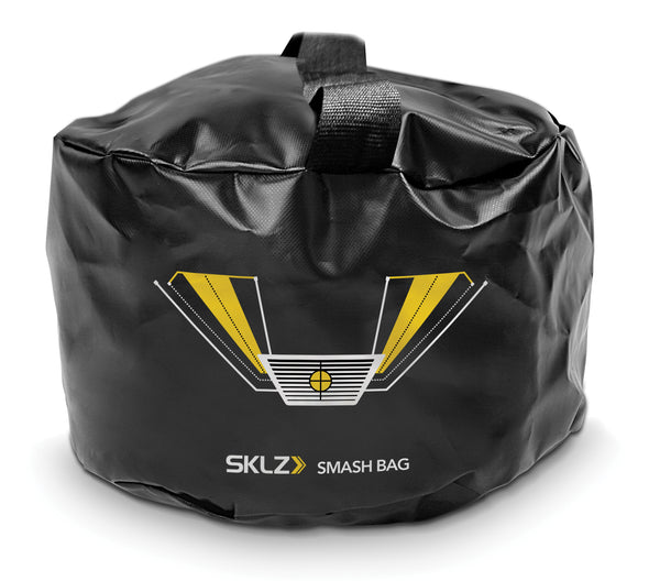 Front view of black golf training bag with yellow and white image