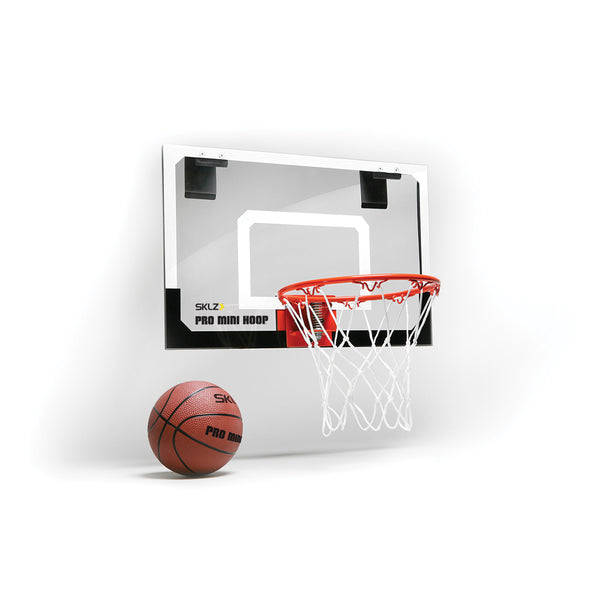 Side view of mini white and black basketball hoop and backboard
