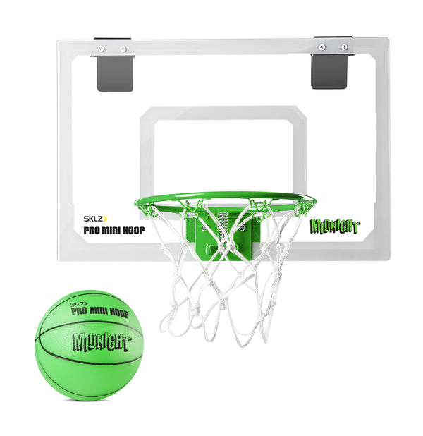Mini hoop and green glow in the dark mini basketball