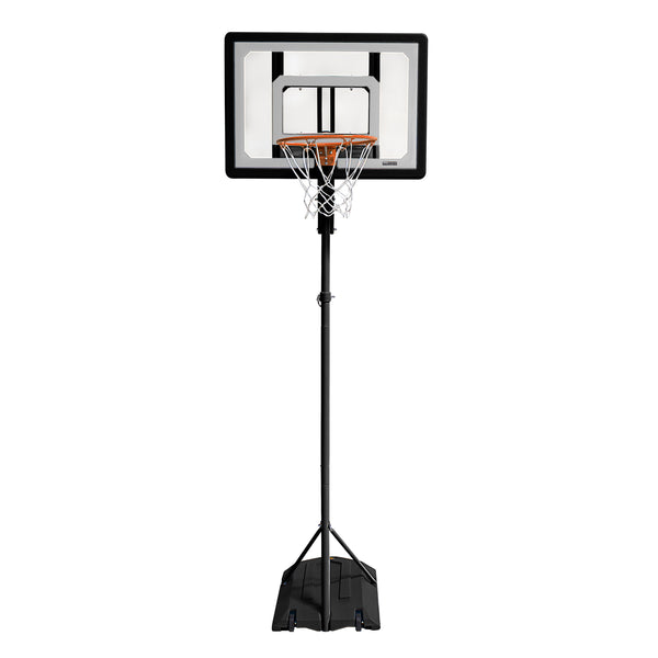 Black basketball system with black base a clear backboard