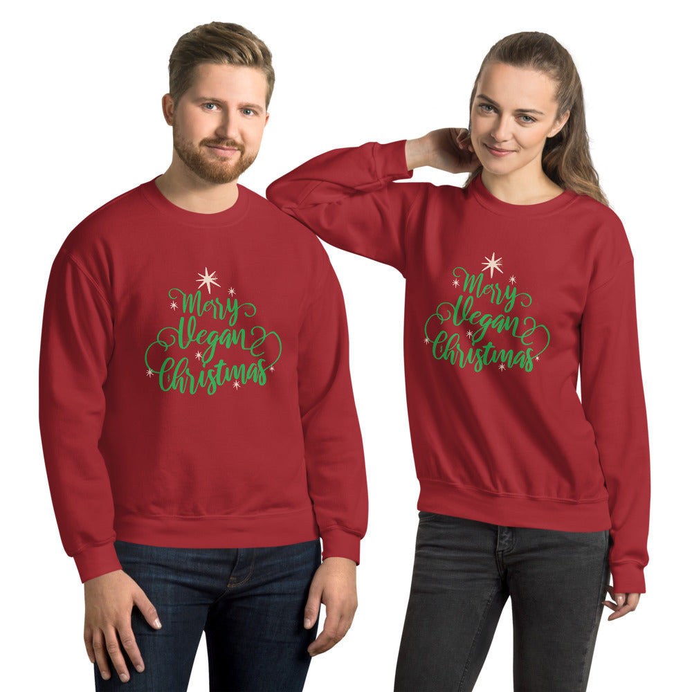 Vegan Christmas Graphic Crew Neck Sweatshirt - Gazzli