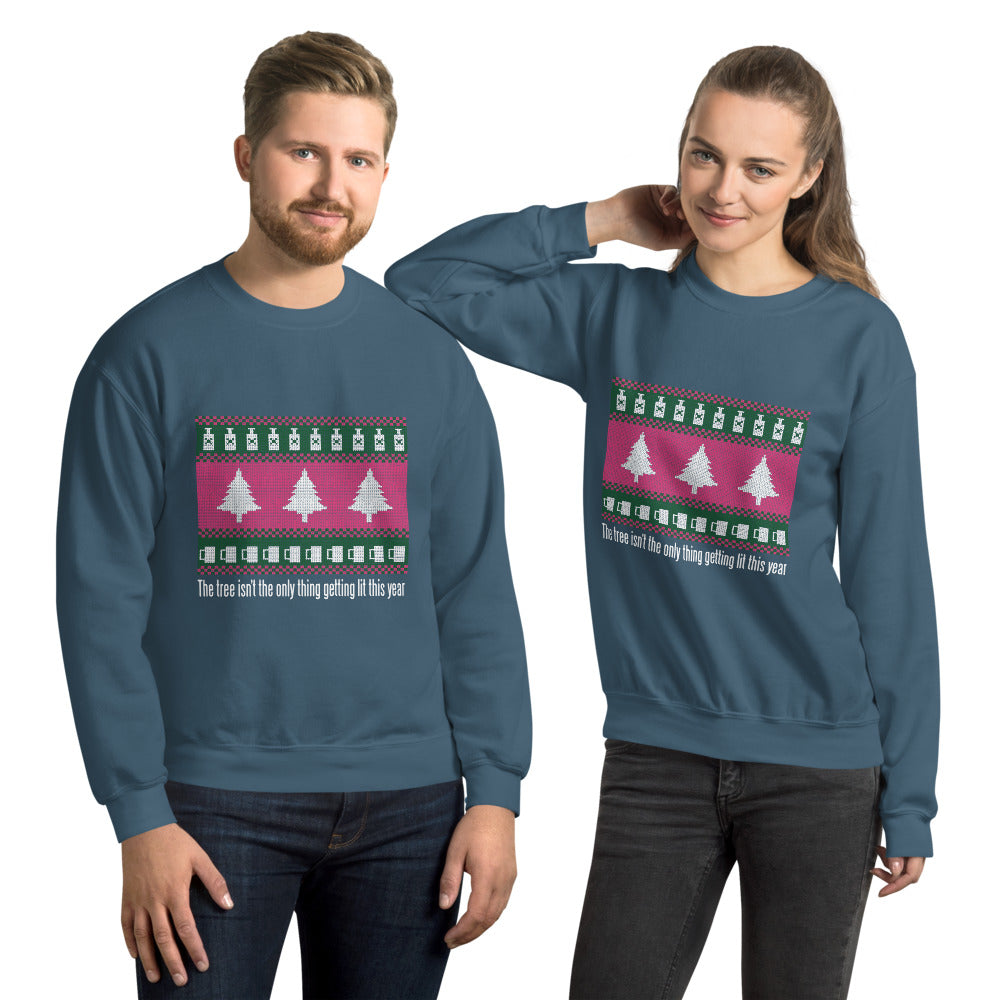 Lit Christmas Graphic Crew Neck Sweatshirt - Gazzli