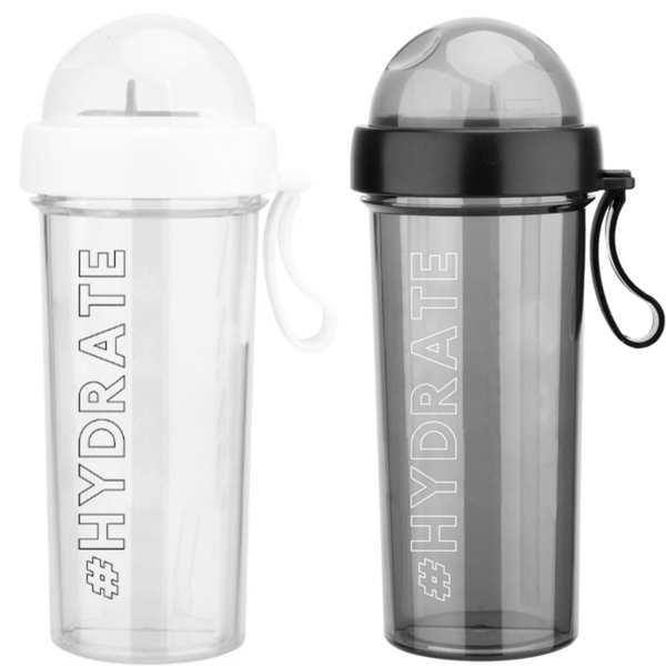 Split Cup Water Bottle with Two Drinking Straws