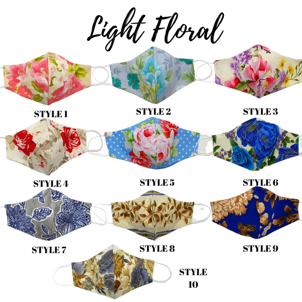 Reversible Light Floral Face Masks