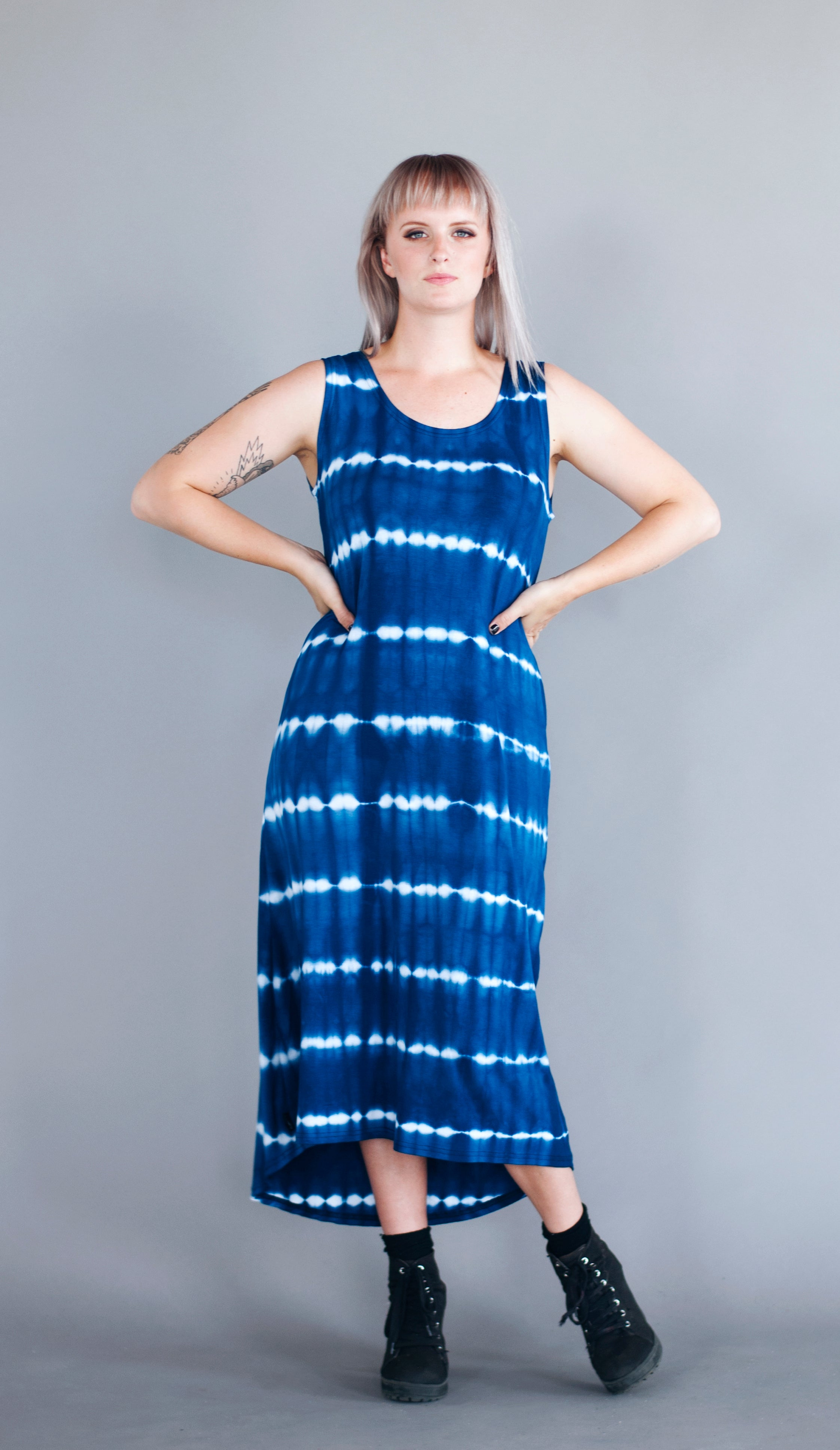 MARIANA DRESS - COBALT TIE DYE