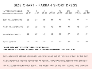 FARRAH SHORT DRESS - 5 COLOURS